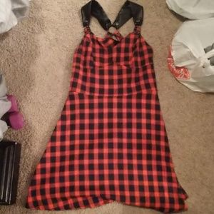 Dresses & Skirts - Black and res plaid rockabilly dress